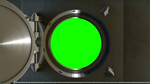 bank vault door opening and revealing green screen. - safes and vaults stock videos & royalty-free footage