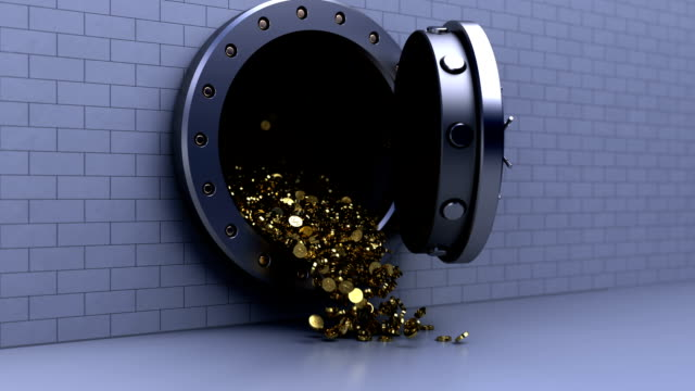 bank vault door with coins 3d animation of coins fall from bank vault door safes and vaults stock videos & royalty-free footage