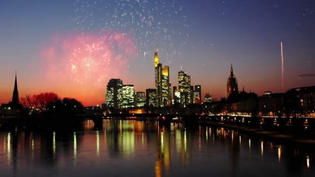 Bankenviertel Frankfurt Illuminated by Fireworks at Night
