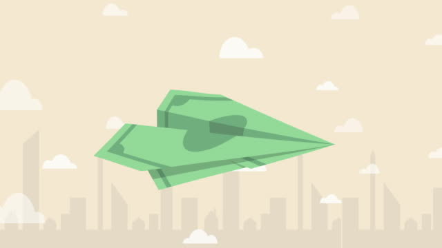 Banknote paper plane flying over the air with city background (Business concept cartoon) 2D flat style animation cartoon of Banknote paper plane flying over the air with city background (Business concept cartoon) exchanging stock videos & royalty-free footage