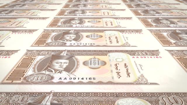 Banknotes of fifty mongolian tugrik of Mongolia, cash money, loop video