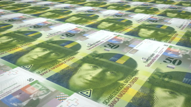 Banknotes of fifty swiss francs of Switzerland, cash money, loop video