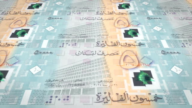 Banknotes of fifty thousand lebanese pounds of Lebanon, cash money, loop video
