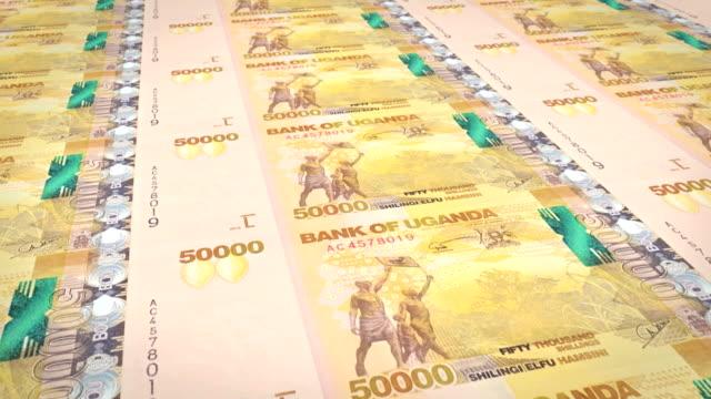 Banknotes of fifty thousand Ugandan shilling of Uganda, cash money, loop video