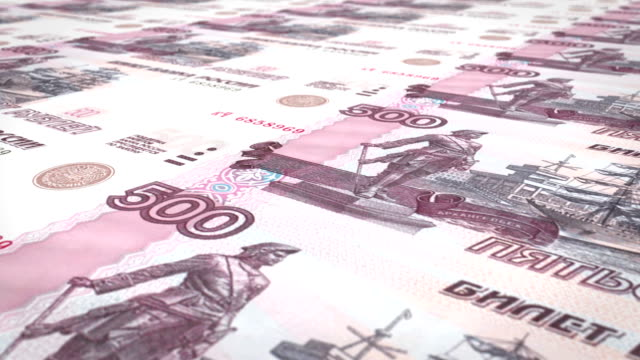 Banknotes of five hundred rubles russians rolling on screen, cash money, loop video