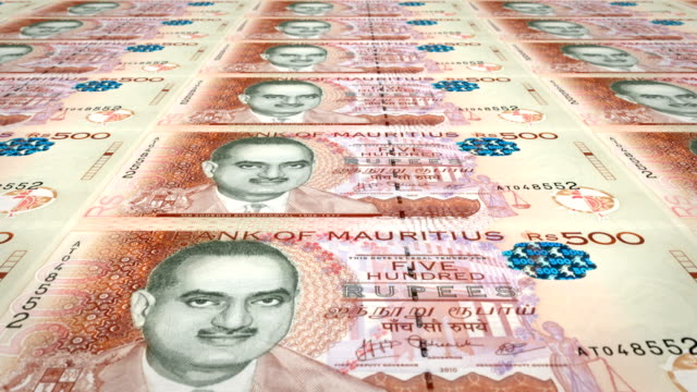 Banknotes of five hundred rupees of the Mauritius Islands, cash money, loop video
