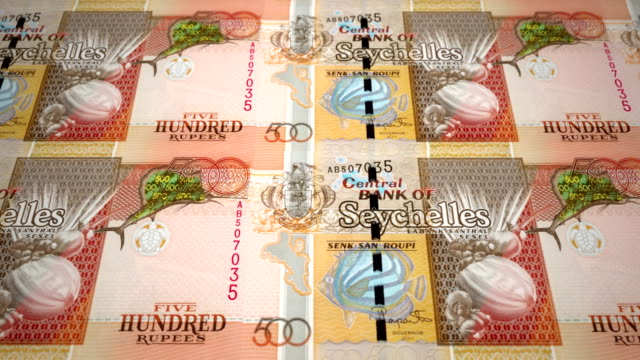 Banknotes of five hundred rupees of the Seychelles Island, cash money, loop video