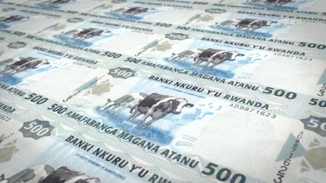 Banknotes of five hundred Rwandan francs of Rwanda, cash money, loop video