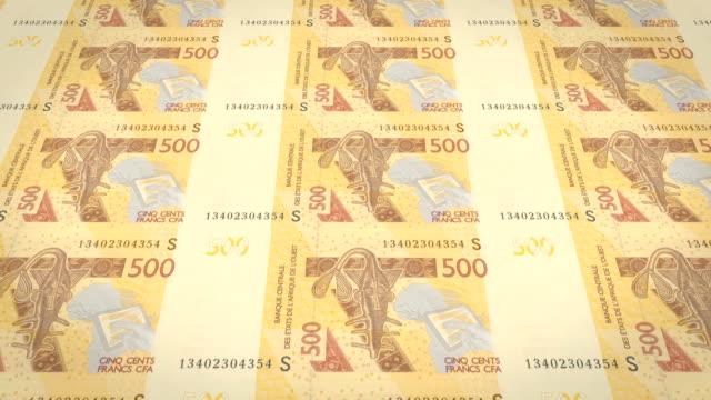 Banknotes of five hundred West African CFA francs of Africa, cash money, loop video