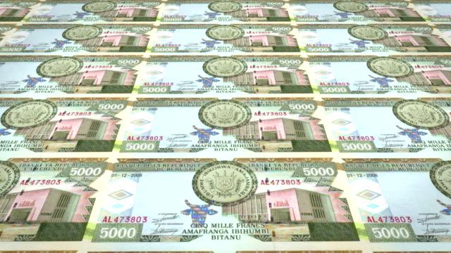 Banknotes of five thousand burundian francs of Burundi, cash money, loop video