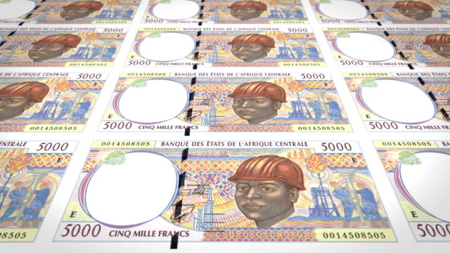 Banknotes of five thousand Central African CFA francs rolling, cash money, loop video