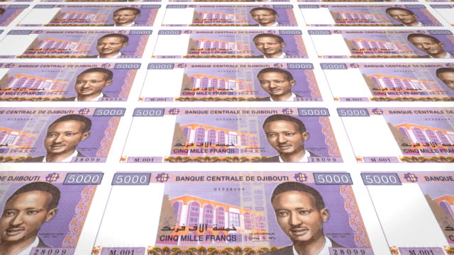 Banknotes of five thousand francs of Djibouti  rolling, cash money, loop video