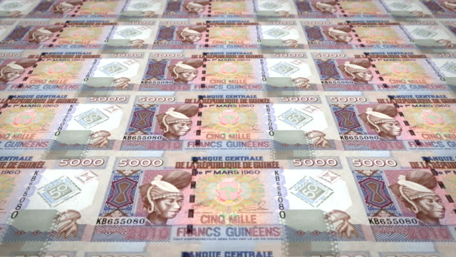 Banknotes of five thousand guinean francs rolling, cash money, loop video