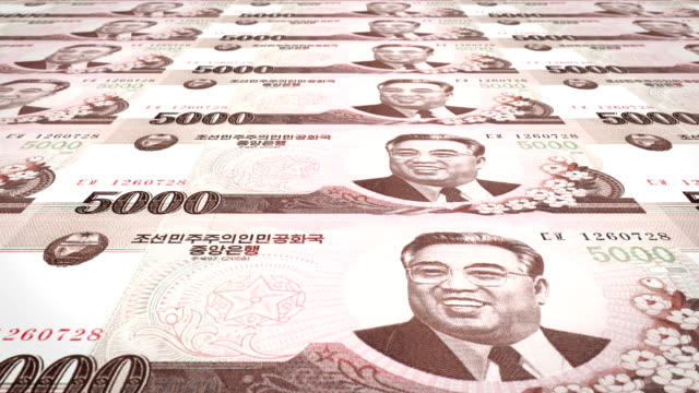 Banknotes of five thousand wons of North Korea rolling, cash money, loop video