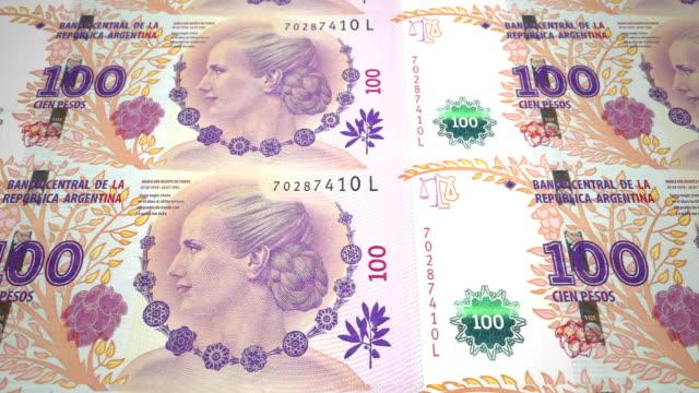 banknoty stu argentyńskich pesos republiki argentyńskiej, pieniądze pieniężne, pętla - argentyna filmów i materiałów b-roll