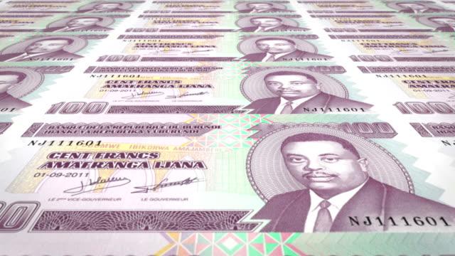 Banknotes of one hundred burundian francs of Burundi, cash money, loop video