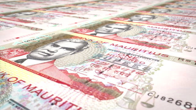 Banknotes of one hundred rupees of the Mauritius Islands, cash money, loop video