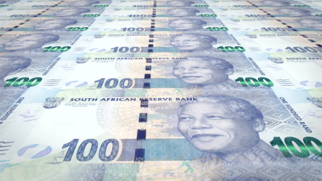 Banknotes of one hundred South African rands of South Africa, cash money, loop Series of banknotes of one hundred South African rands of the South African Reserve Bank rolling on screen, coins of the world, cash money, loop inflation stock videos & royalty-free footage