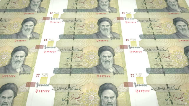 Banknotes of one hundred thousand iranian riyals of Iran, cash money, loop video