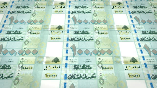 Banknotes of one hundred thousand lebanese pounds of Lebanon, cash money, loop video