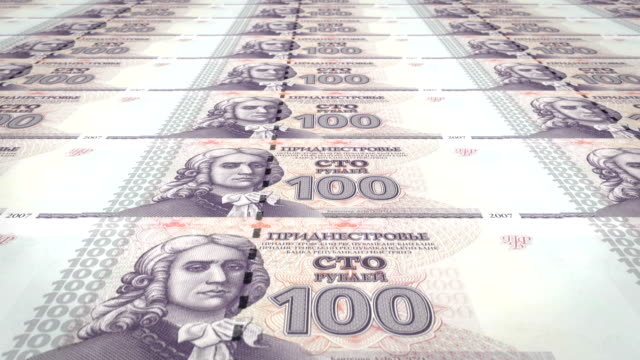 Banknotes of one hundred transnistrian rubles of Transnistria, cash money, loop video