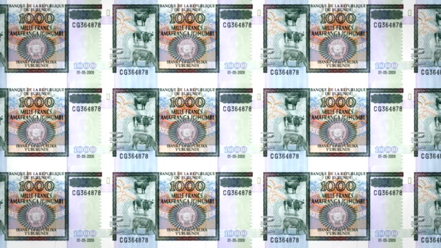 Banknotes of one thousand burundian francs of Burundi, cash money, loop video