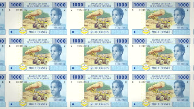 Banknotes of one thousand Central African CFA francs rolling, cash money, loop video