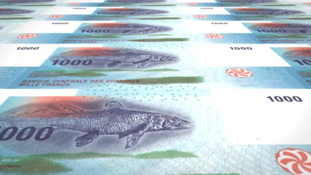 Banknotes of one thousand comorian francs of Comoros, cash money, loop video
