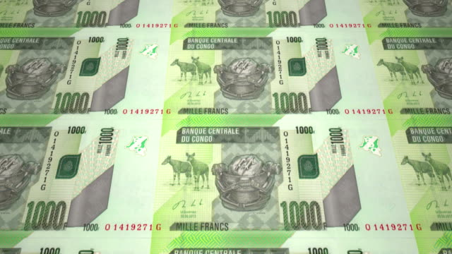 Banknotes of one thousand congolese francs of the Congo, cash money, loop video