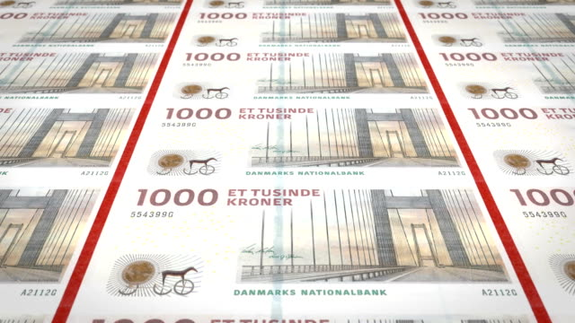 Banknotes of one thousand danish krones of Denmark, cash money, loop Series of banknotes of one thousand danish crowns of the central bank of Denmark in Europa, rolling on screen, coins of the world, cash money, loop denmark stock videos & royalty-free footage