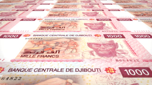 Banknotes of one thousand francs of Djibouti  rolling, cash money, loop video