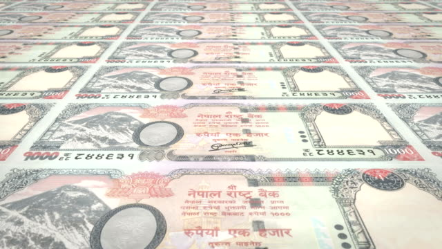 Banknotes of one thousand nepalese rupee of Nepal, cash money, loop video