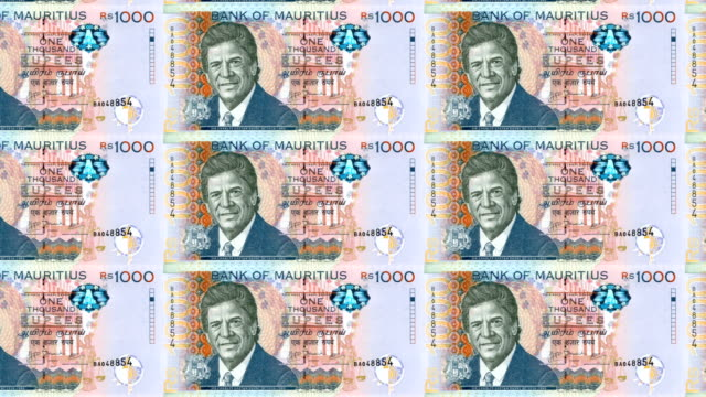 Banknotes of one thousand rupees of the Mauritius Islands, cash money, loop video