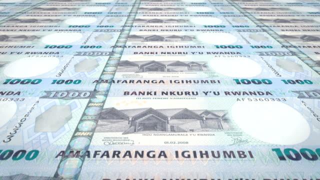 Banknotes of one thousand Rwandan francs of Rwanda, cash money, loop video