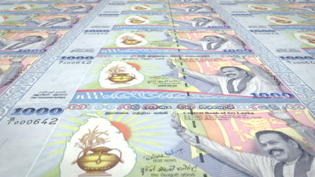 Banknotes of one thousand Sri Lankan rupees of Sri Lanka, cash money, loop video