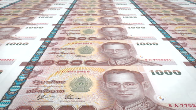 Banknotes of one thousand thai bahts of Thailand, cash money, loop Series of banknotes of one thousand thai bahts of the National Bank of Thailand rolling on screen, coins of the world, cash money, loop sukhothai stock videos & royalty-free footage