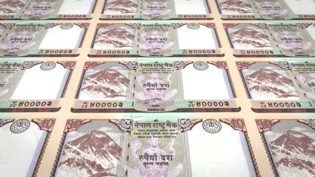 Banknotes of ten nepalese rupee of Nepal, cash money, loop video