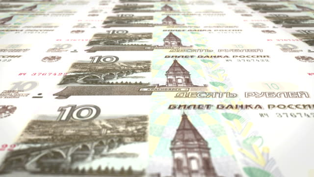 Banknotes of ten rubles russians rolling on screen, cash money, loop Series of banknotes of ten rubles russians of russian bank rolling on screen, coins of the world, cash money, loop treasury stock videos & royalty-free footage