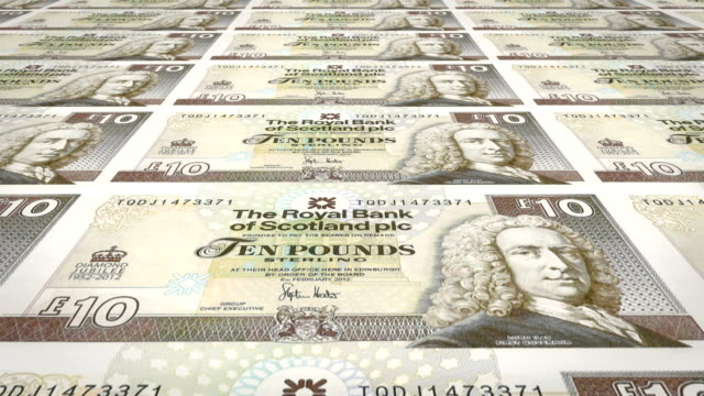 Banknotes of ten scottish pounds of Scotland, cash money, loop video