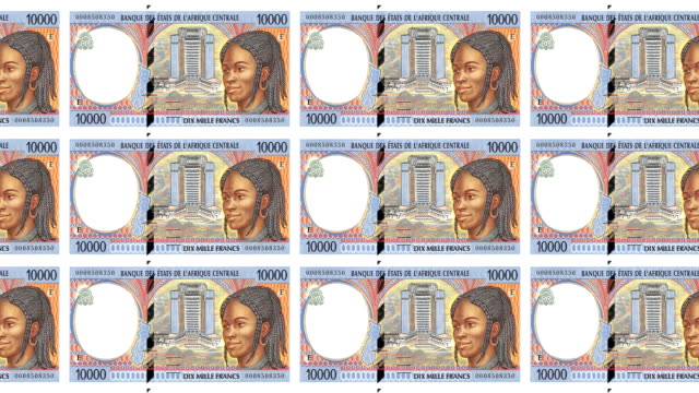 Banknotes of ten thousand Central African CFA francs rolling, cash money, loop video