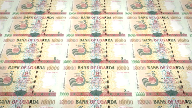 Banknotes of ten thousand Ugandan shilling of Uganda, cash money, loop video