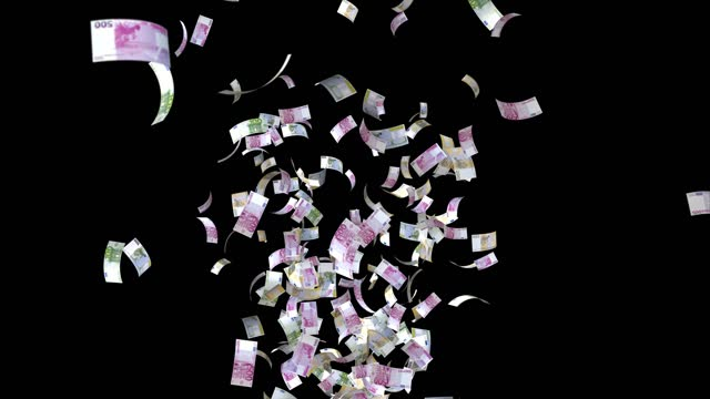 Banknotes of the Euro, 500 EUR, 200 EUR and 100 EUR mixed, animated background loop, flow, explosion 4K seamless loop, chroma key, stock video Banknotes of the Euro, 500 EUR, 200 EUR and 100 EUR mixed, animated background loop, flow, explosion 4K seamless loop, chroma key, stock video european union currency stock videos & royalty-free footage