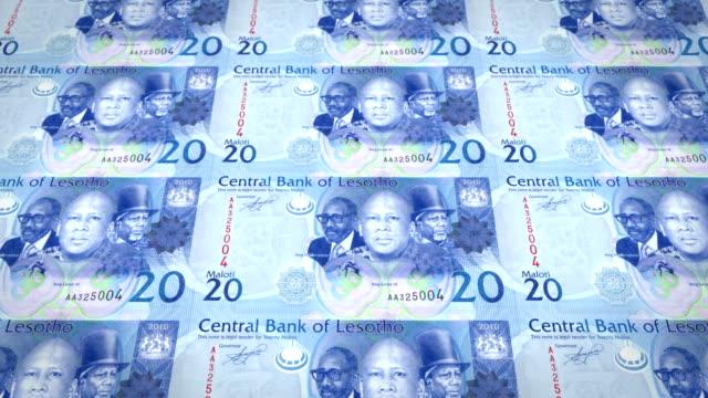 Banknotes of twenty maloti or lotis of Lesotho rolling, cash money, loop video