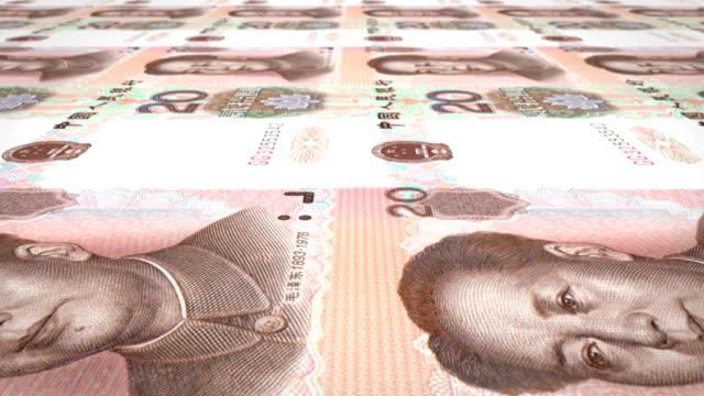 banknoten von 20 renminbi schleife chinesisch rollen auf dem bildschirm, bargeld, - kommunismus stock-videos und b-roll-filmmaterial
