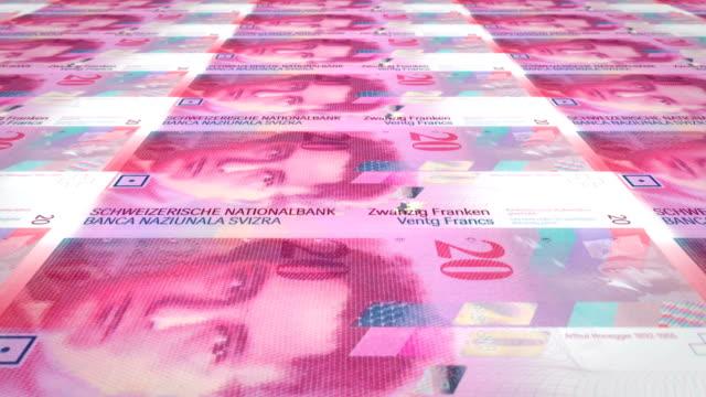 Banknotes of twenty swiss francs of Switzerland, cash money, loop video