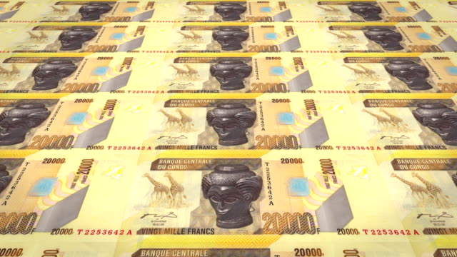 Banknotes of twenty thousand congolese francs of the Congo, cash money, loop video