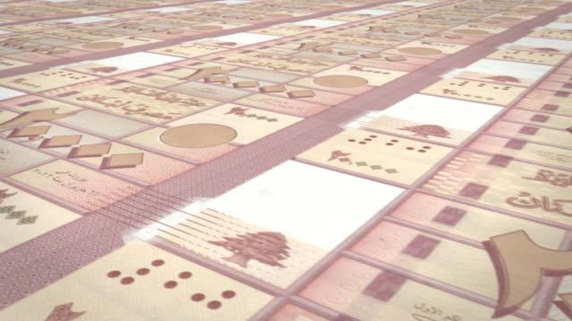 2 萬黎巴嫩鎊的黎巴嫩,現金錢紙幣迴圈 - lebanon 個影片檔及 b 捲影像