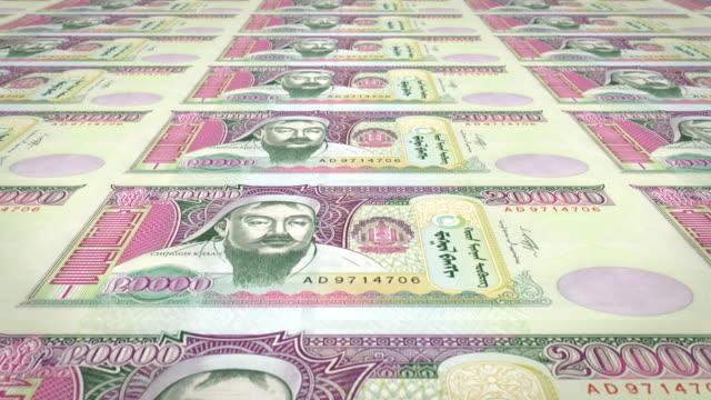 Banknotes of twenty thousand mongolian tugrik of Mongolia, cash money, loop video