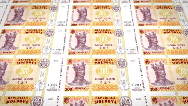 banknotes of two hundred moldovan lei of moldova, cash money, loop - молдавия стоковые видео и кадры b-roll