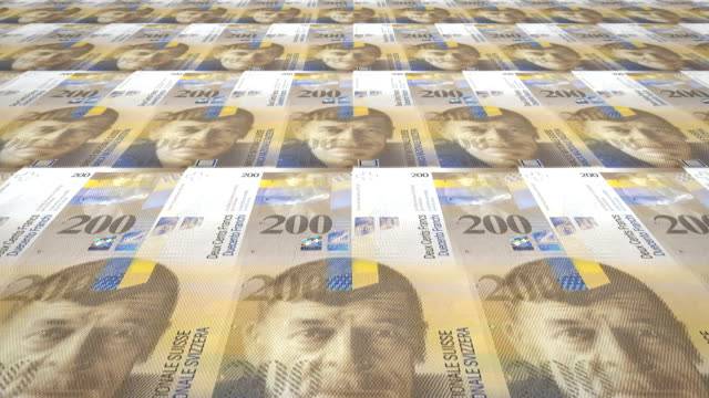 Banknotes of two hundred swiss francs of Switzerland, cash money, loop video